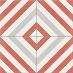 Carreau de ciment coloré rouge, gris et blanc AZUR 10.14.07