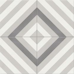 Carreau de ciment coloré gris et blanc AZUR 10.07.27
