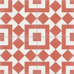 Carreau de ciment coloré rouge et blanc TWENTY 10.14