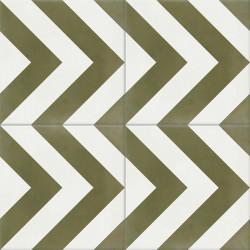 Carreau de ciment coloré vert et blanc EPI 22.10