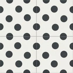 Carreau de ciment coloré noir et blanc POIS 10.01