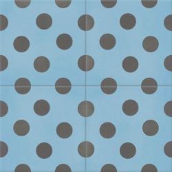 Carreau de ciment coloré bleu et gris POIS 15.32