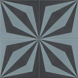 Carreau de ciment coloré noir et bleu LOOP 01.40