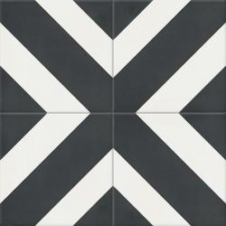 Carreau de ciment coloré noir et blanc DUPLI 10.01