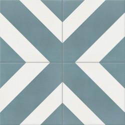 Carreau de ciment coloré blanc et bleu DUPLI 39.10