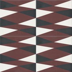 Carreau de ciment coloré marron, noir et blanc
