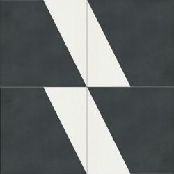 Carreau de ciment coloré noir et blanc CARL 01.10
