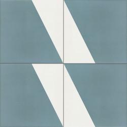 Carreau de ciment coloré bleu et blanc CARL 40.10