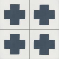 Carreau de ciment coloré bleu et blanc GEO D 10.30