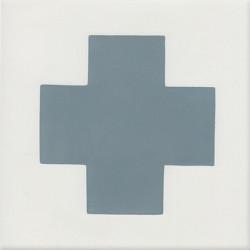 4 Carreaux de ciment coloré bleu et blanc GEO D 10.39