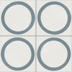 Carreau de ciment coloré bleu et blanc GEO E 10.39