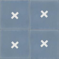 Carreau de ciment coloré bleu et blanc GEO A 15.10
