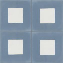 Carreau de ciment coloré bleu et blanc GEO C 15.10