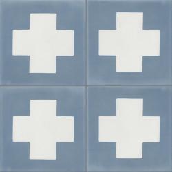 Carreau de ciment coloré bleu et blanc GEO D 15.10