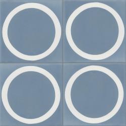 Carreau de ciment coloré bleu et blanc GEO E 15.10