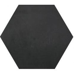 Carreau de ciment coloré Hexagone uni noir HU01