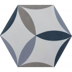 Carreau de ciment coloré Hexagone motif CESAR 07.33.30.27