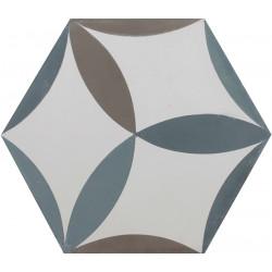Carreau de ciment coloré Hexagone motif CESAR 10.39.40.27