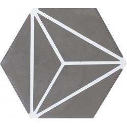 Carreau de ciment coloré Hexagone motif OZU 32.10