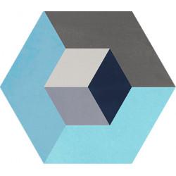 Carreau de ciment coloré Hexagone motif CADIX 15.07.32.33.06