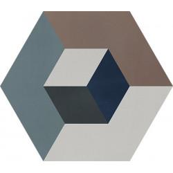 Carreau de ciment coloré Hexagone motif CADIX 40.28.07.01.30