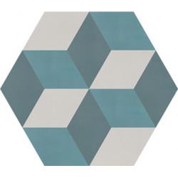 Carreau de ciment coloré Hexagone motif CORTES 07.40.39