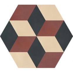 Carreau de ciment coloré Hexagone motif CORTES 37.01.23
