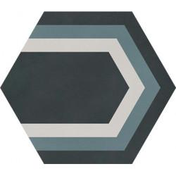 Carreau de ciment coloré Hexagone motif PAON 01.40.07