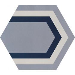 Carreau de ciment coloré Hexagone motif PAON 33.07.30