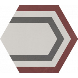 Carreau de ciment coloré Hexagone motif PAON 35.07.32