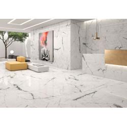 Carrelage grès cérame Kairos effet marbre blanc veiné gris 60x30cm