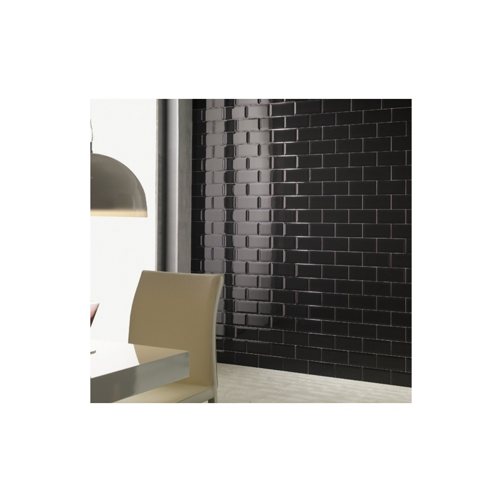 Carrelage mural faience carreau metro bissel 10x20cm 5 for Plinthe carrelage noir brillant 10 x 20