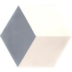 Carreau de ciment coloré Hexagone uni gris foncé HU33