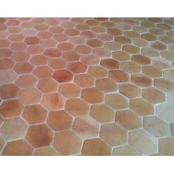 Terre cuite naturelle hexagone 20x20cm, manuelle brute