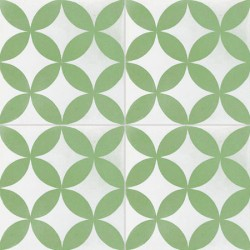 4 Carreaux de ciment coloré vert et blanc C31 10.09