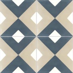 Carreau de ciment coloré motif bleu, beige et blanc NC5 37.30.10