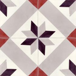 Carreau de ciment coloré motif gris, noir, blanc et bordeaux motif T29 07.10.01.11
