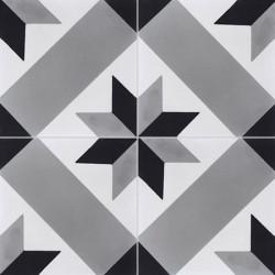 Carreau de ciment coloré motif gris, noir et blanc T41 07.01.27