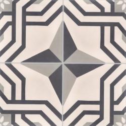 Carreau de ciment coloré motif 4 carreaux beige, noir et gris ALMA 01.07.27