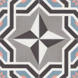 Carreau de ciment coloré motif 4 carreaux gris, noir, blanc, bleu et rose ALMA 01.10.27.15.05