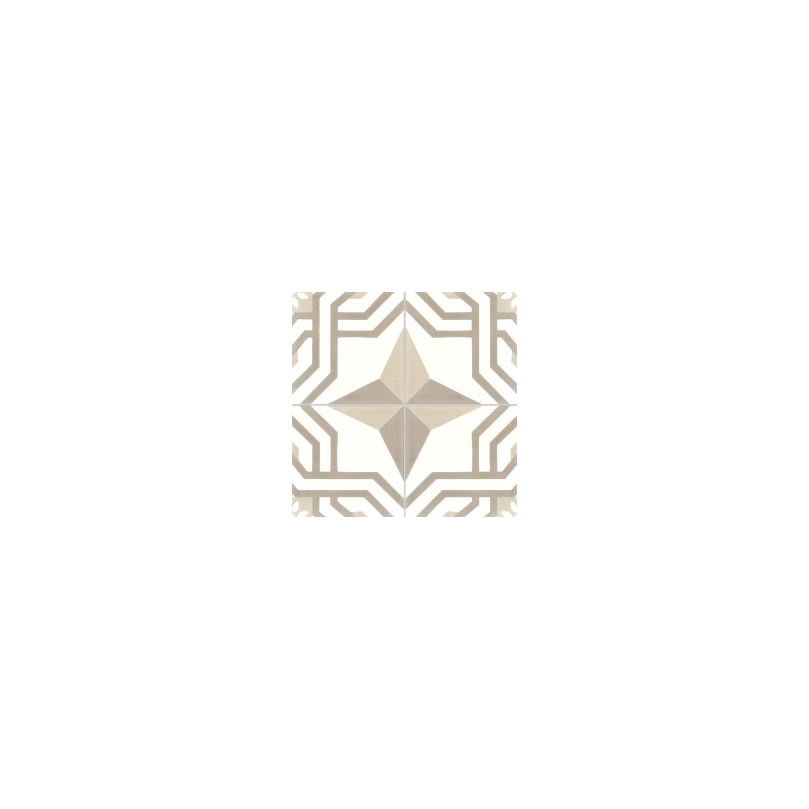 Carreau de ciment coloré motif 4 carreaux blanc, beige et marron ALMA 36.37.10