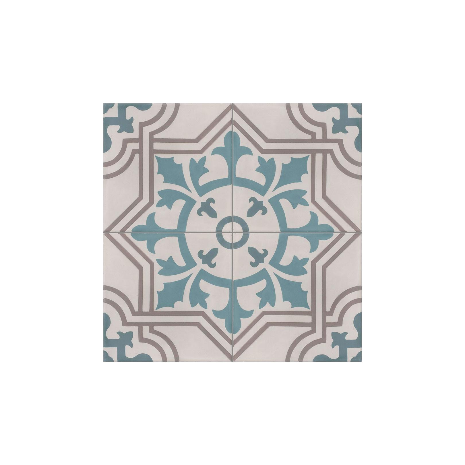Carreau de ciment coloré motif 4 carreaux bleu, beige et marron ARCACHON 07.27.39.40