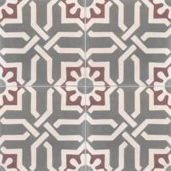 Carreau de ciment coloré motif gris, beige et bordeaux motif ASSAS 32.07.35