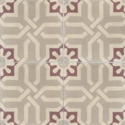 Carreau de ciment coloré motif crème, beige et bordeaux motif ASSAS 36.37.35