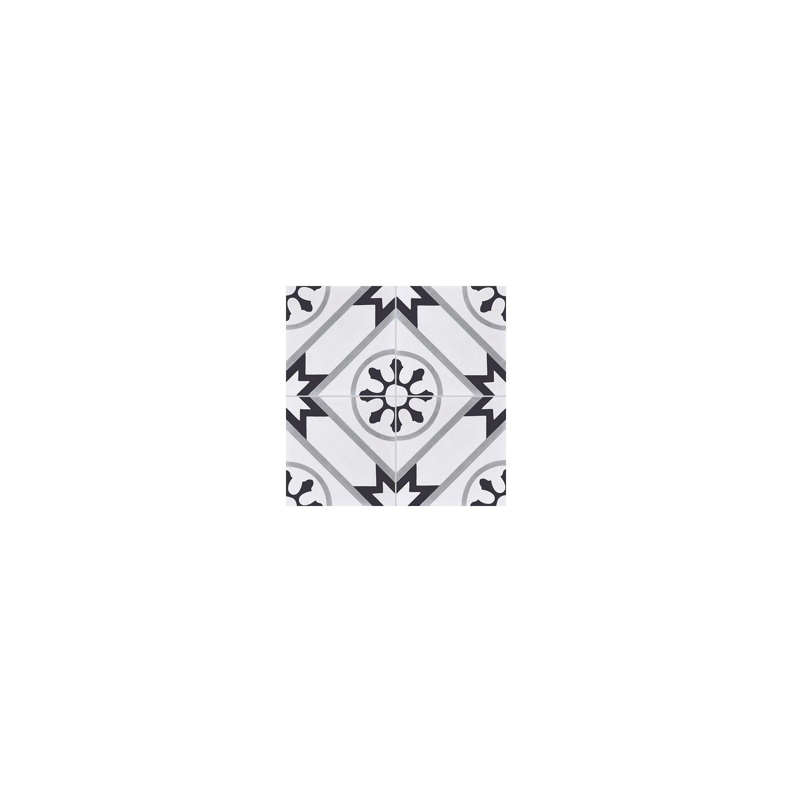 Carreau de ciment coloré motif 4 carreaux blanc, gris et noir AVRIL 07.27.01