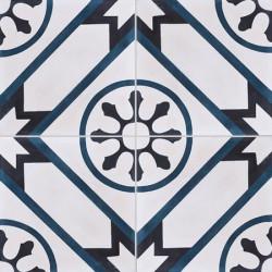Carreau de ciment coloré motif 4 carreaux blanc, bleu et noir AVRIL 07.30.01