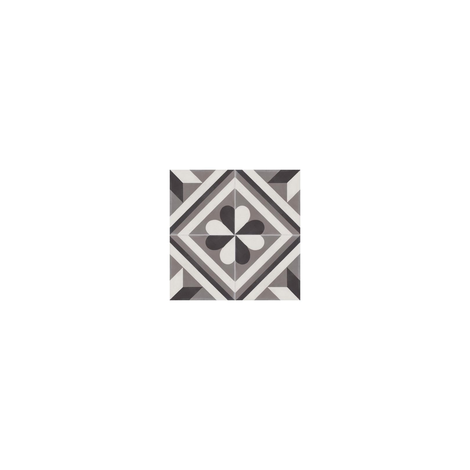 Carreau de ciment coloré motif 4 carreaux gris, blanc et noir BAILLY 10.01.27