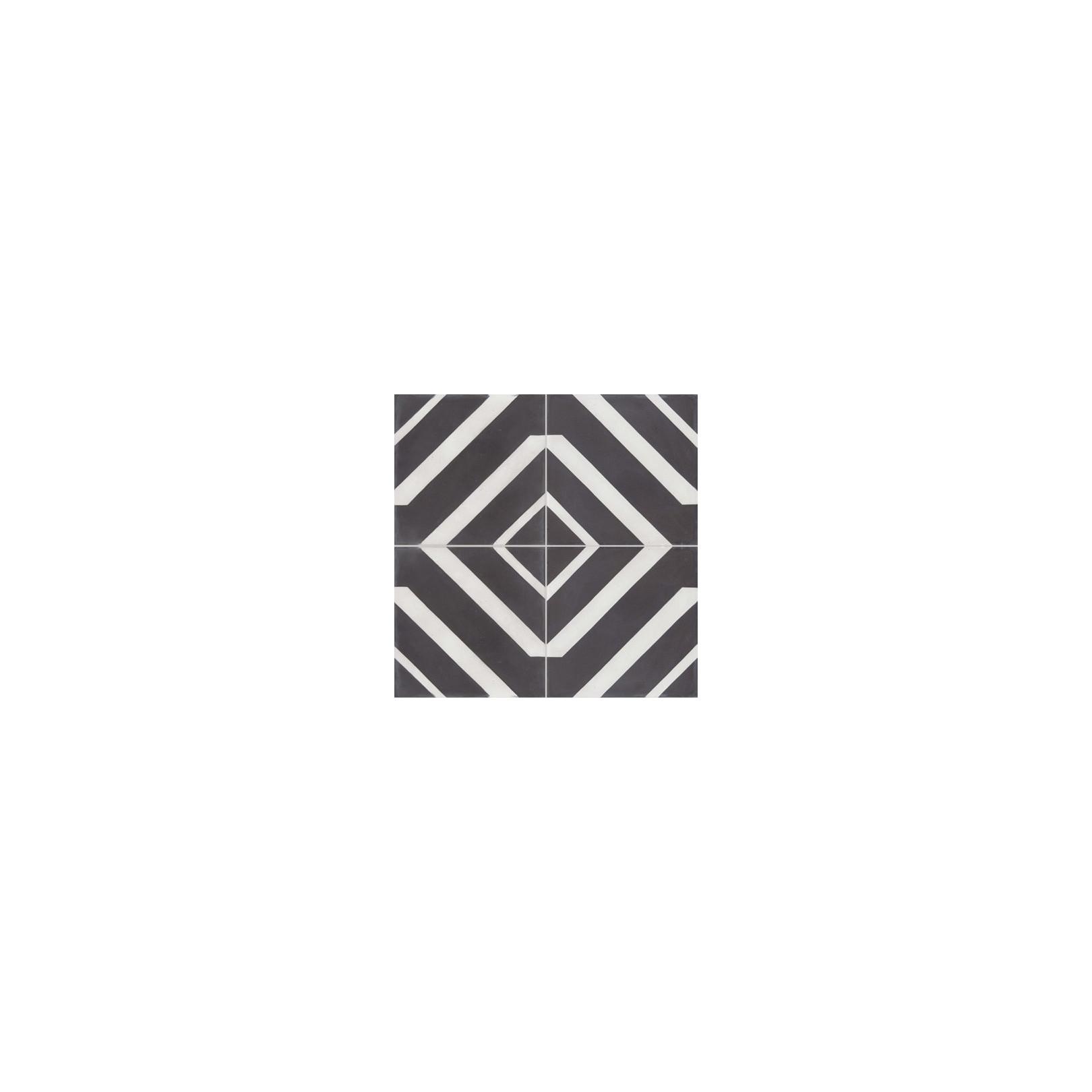 Carreau de ciment coloré motif 4 carreaux noir et blanc BARBADE 01.10
