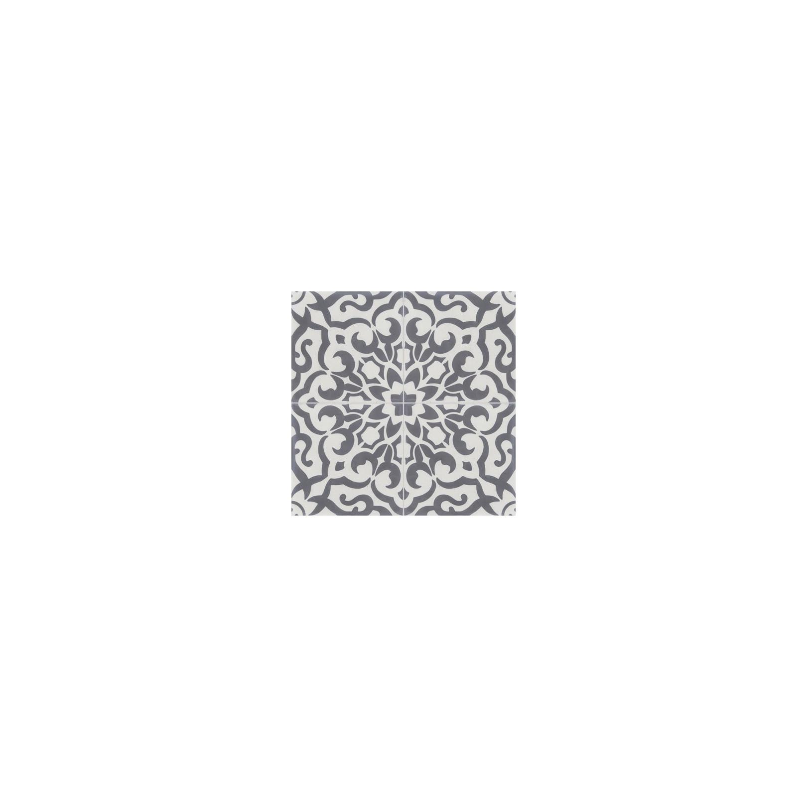 Carreau de ciment coloré motif 4 carreaux Gris et blanc BREHAT 10.33