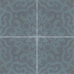 Carreau de ciment coloré motif 4 carreaux bleu et gris BREHAT 40.39
